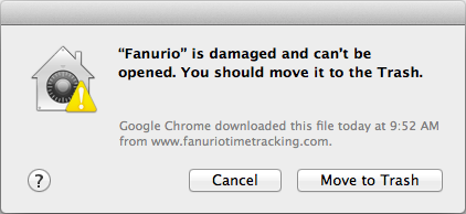 Fanurio is damaged and can't be opened. You should move it to trash.