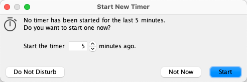 Time tracking software - Reminder to start the timer