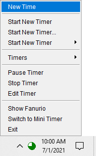 Time tracking software - Tray icon menu